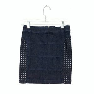 Candie's silver studded denim skirt